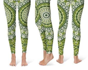 Green Printed Leggings, Womens Leggings, Green Mandala Yoga Leggings, Mandala Pants, Yoga Pants, Yoga Tights