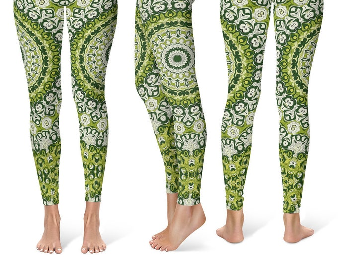 Wild Leggings Yoga Pants, Printed Yoga Tights for Women, Green Mandala Pattern