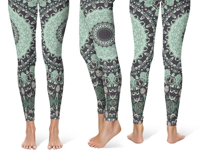 Wild Leggings Yoga Pants, Printed Yoga Tights for Women, Aqua Mandala Pattern