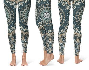 Womens Leggings, Nature Leggings, Brown and Green Mandala Yoga Leggings, Yoga Pants, Yoga Tights