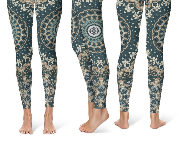 Festival Leggings Yoga Pants, Printed Yoga Tights for Women, Earthy Mandala Pattern
