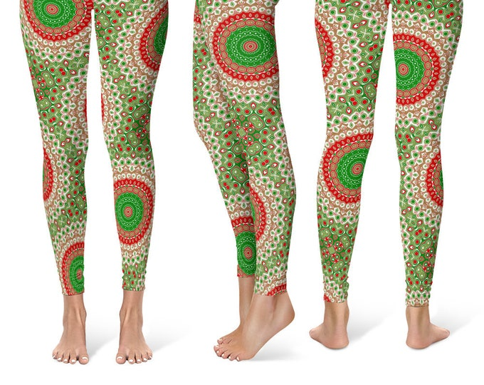 Christmas Leggings Women, Holiday Leggings, Red and Green Mandala Yoga Pants, Printed Tights