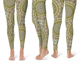 Antiqued Printed Leggings, Ladies Leggings, Fancy Leggings, Stretchy Yoga Pants, Yoga Clothing