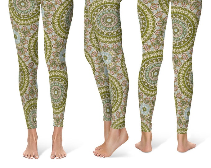 Antiqued Leggings Yoga Pants, Printed Yoga Tights for Women, Fancy Mandala Pattern
