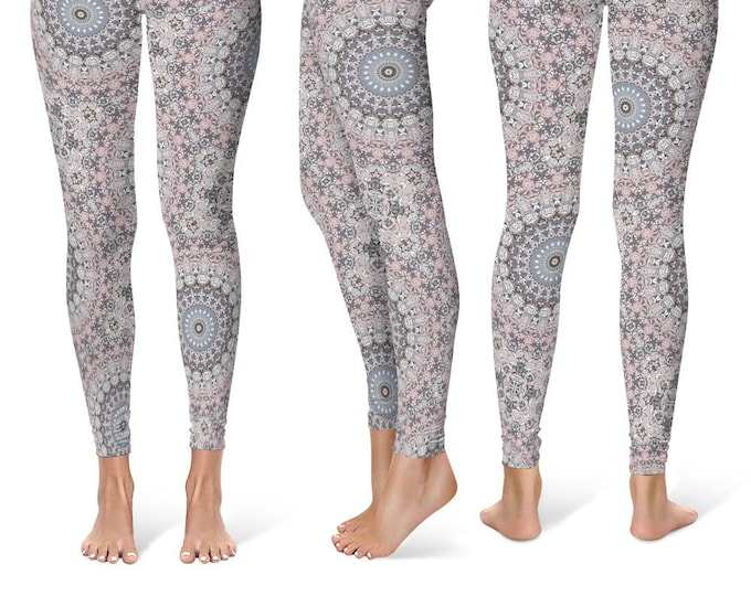 Patterned Leggings Yoga Pants, Printed Yoga Tights for Women, Pink and Gray Mandala Design