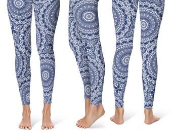 Indigo Leggings Yoga Pants, Printed Yoga Tights for Women, Blue and White Mandala Pattern