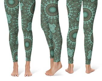Patterned Leggings Yoga Pants, Green Mandala Printed Yoga Tights for Women, Festival Clothing