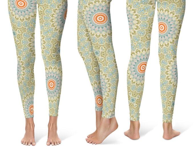Green Leggings Yoga Pants, Mandala Printed Yoga Tights for Women, Festival Clothing, Club Wear