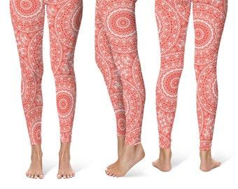 Vermilion Leggings Yoga Pants, Printed Yoga Tights for Women, Red and White Mandala Pattern