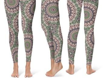 Unique Yoga Leggings, Womens Stretch Leggings, Fashion Leggings, Mandala Yoga Tights, Yoga Print Pants, Mandala Pants
