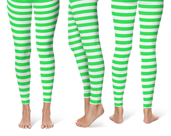 Leprechaun Leggings Yoga Pants, Striped Yoga Tights for Women in Bright Green and White