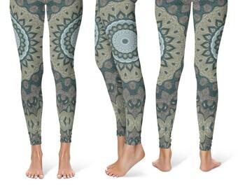 Printed Leggings for Women, Tribal Yoga Pants, Mandala Patterned Boho Leggings, Shaman Clothing