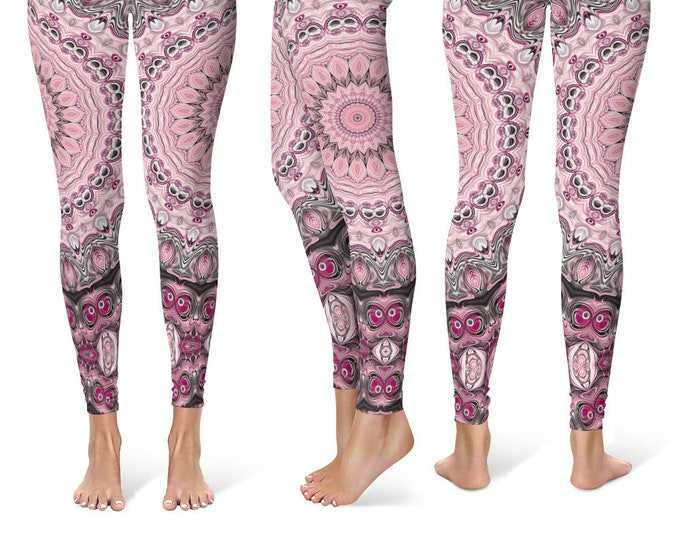 Sexy Leggings Yoga Pants, Mandala Printed Yoga Tights for Women, Pink and Black Festival Clothing