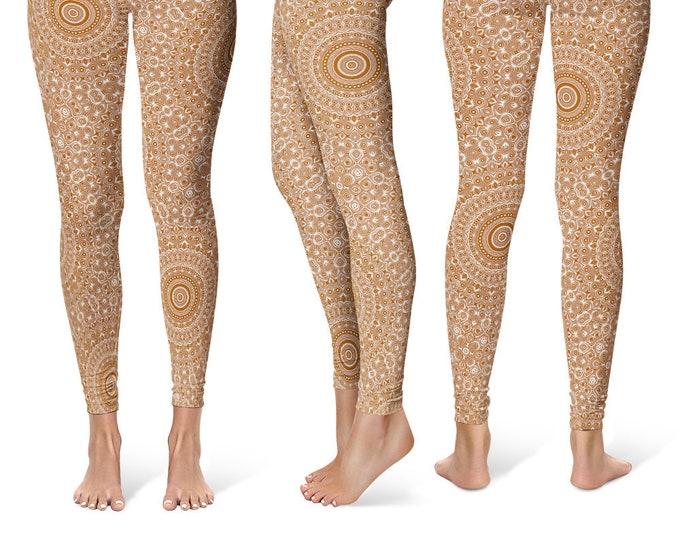 Brown Leggings Yoga Pants, Printed Yoga Tights for Women, Brown and White Mandala Pattern