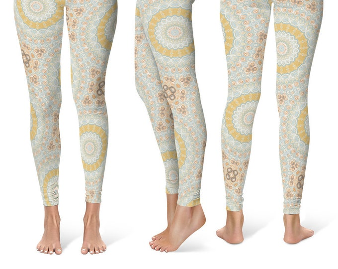 Ladies Leggings Yoga Pants, Spring Mandala Printed Yoga Tights for Women