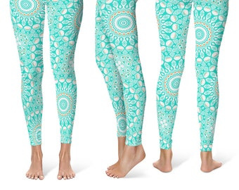 Print Yoga Pants, Aqua Leggings, Turquoise Leggings, Blue and White Printed Yoga Leggings