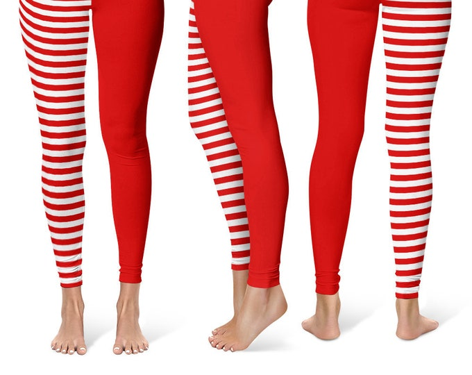 Two Color Leggings Yoga Pants, Printed Yoga Tights for Women, Red and White Stripes Pattern