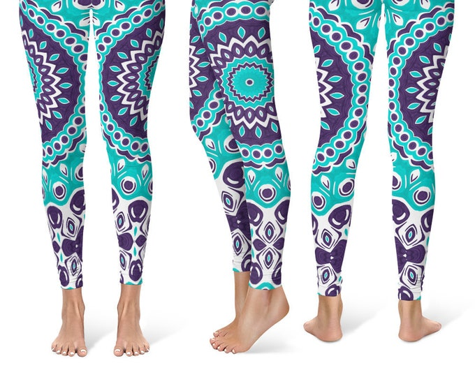 Bold Leggings Yoga Pants, Bright Printed Yoga Tights for Women, Ocean Inspired Blue Mandala Pattern