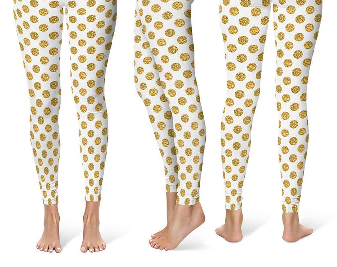 Polka Dot Leggings Yoga Pants, Printed Yoga Tights for Women, Glittery Gold and White Pattern