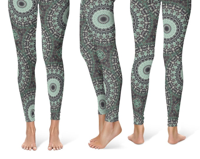 Burning Man Leggings Yoga Pants, Printed Yoga Tights for Women, Aqua Mandala Pattern