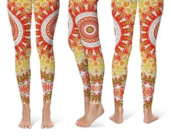 Summer Leggings, Bright Printed Womens Leggings, Wild Spring Mandala Yoga Leggings, Mandala Pants, Yoga Pants, Yoga Tights