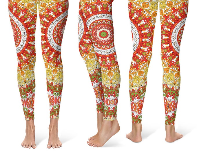 Summer Leggings Yoga Pants, Printed Yoga Tights for Women, Red and Yellow Mandala Pattern