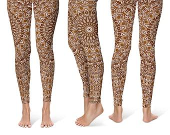 Chocolate Leggings Yoga Pants, Printed Yoga Tights for Women, Brown Mandala Pattern