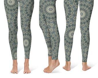 Burning Man Leggings Yoga Pants, Printed Yoga Tights for Women, Earthy Mandala Pattern