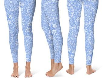 Cornflower Blue Leggings Yoga Pants, Printed Yoga Tights for Women, Light Blue and White Mandala Pattern