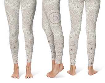 Cream Leggings Yoga Pants, Mandala Printed Yoga Tights for Women, Boho Festival Clothing