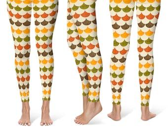 Autumn Leggings, Fall Mermaid Scales Yoga Pants, Dragon Scales, Fish Scales, Mermaid Leggings Tights