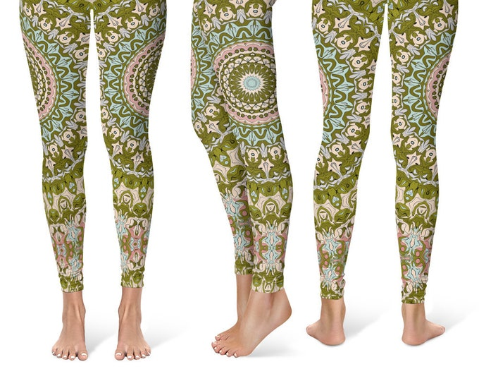 Ladies Leggings Yoga Pants, Printed Yoga Tights for Women, Antiqued Mandala Pattern