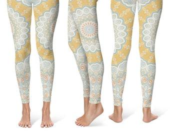 Spring Leggings Yoga Pants, Mandala Printed Yoga Tights for Women, Festival Clothing
