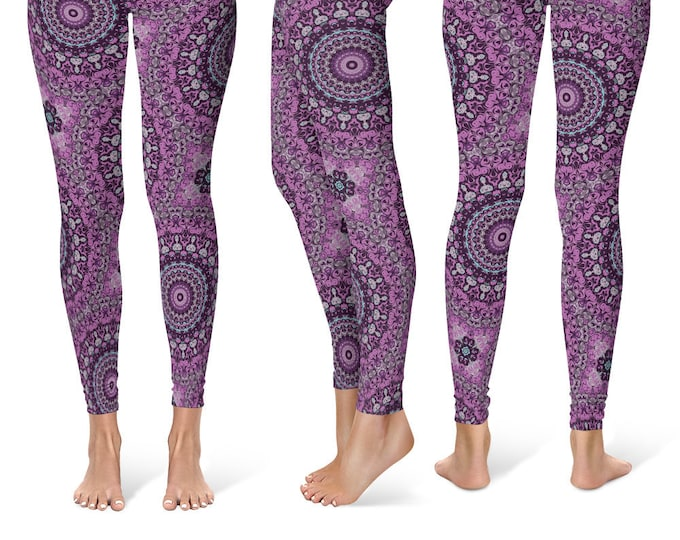 Mandala Leggings Yoga Pants, Printed Yoga Tights for Women, Purple Flower Pattern