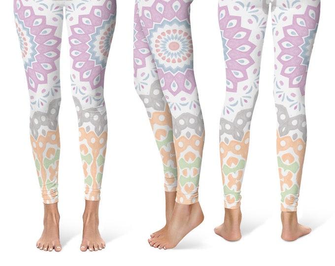 Spring Leggings Yoga Pants, Cute Printed Yoga Tights for Women, Unique Mandala Pattern