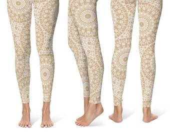 Beige Leggings Yoga Pants, Cream Printed Yoga Tights for Women, Tan and White Mandala Pattern