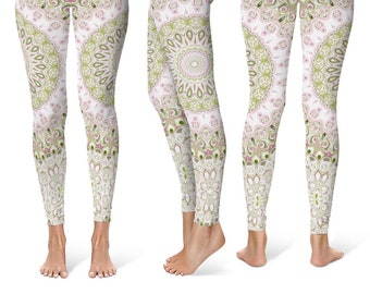 Spring Leggings Yoga Pants, Mandala Printed Yoga Tights for Women, Bridesmaid Gift Ideas