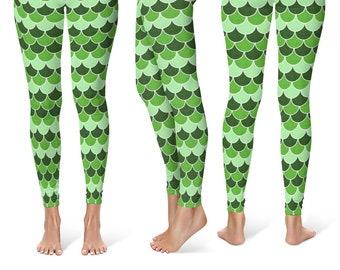 Saint Patrick's Day Leggings, Bright Green Yoga Pants, Dragon Scales, Mermaid Scales, Fish Scales, Green Mermaid Leggings