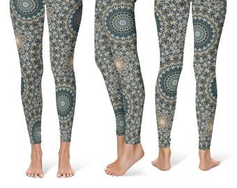 Abstract Nature Pattern Leggings, Brown and Green Mandala Yoga Leggings, Womens Leggings