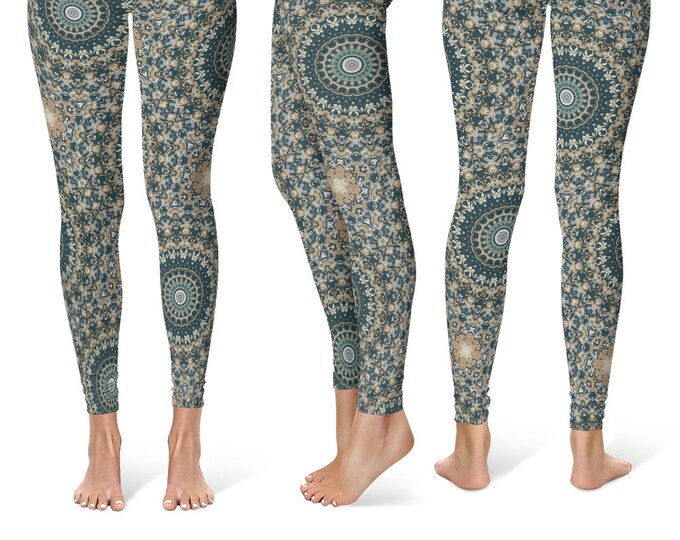 Abstract Leggings Yoga Pants, Printed Yoga Tights for Women, Earthy Mandala Pattern