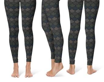 Black Mermaid Leggings, Black Yoga Pants, Dragon Scales, Mermaid Scales, Fish Scales, Black Mermaid Tights, Printed Leggings