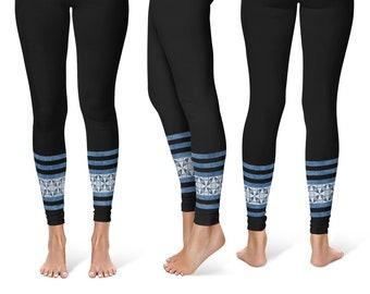 Black Leggings, Blue Ankle Pattern Striped Leggings Tights for Women, Black Yoga Pants