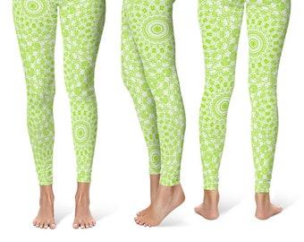 Chartreuse Leggings Yoga Pants, Bright Printed Yoga Tights for Women, Lime Green Mandala Pattern