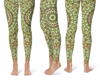 Festival Leggings, Camo Leggings, Camouflage Green and Brown Printed Leggings, Yoga Pants Womens Stretch Pants, Yoga Tights