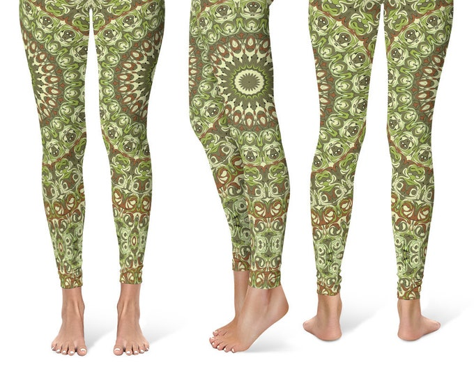 Green Leggings Yoga Pants, Printed Yoga Tights for Women, Earthy Mandala Pattern