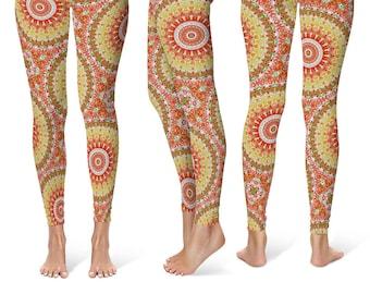Summer Yoga Pants, Pattern Leggings, Bright Printed Leggings for Spring and Summer