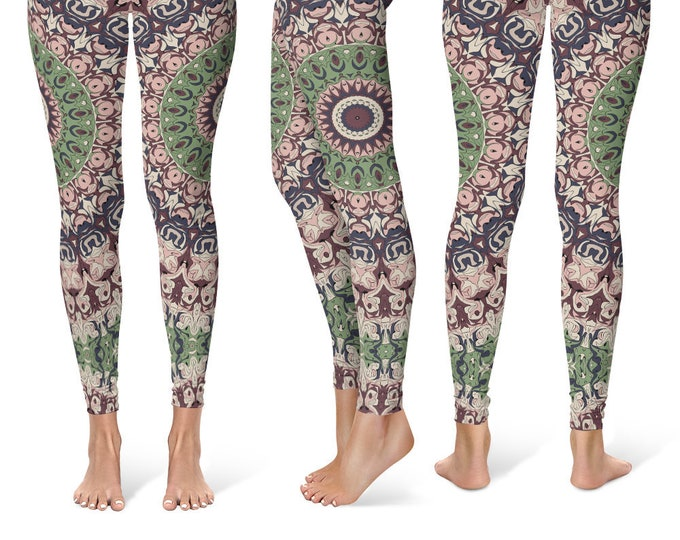 Ladies Leggings Yoga Pants, Printed Yoga Tights for Women, Unique Mandala Pattern