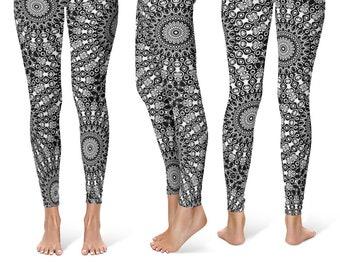 Funky Black Leggings Yoga Pants, Printed Yoga Tights for Women, Black and White Mandala Pattern