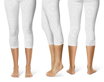 READY TO SHIP - White Leggings in Size Small, Printed Yoga Pants for Women, Capris