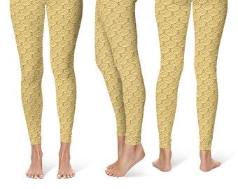 Gold Mermaid Leggings, Gold Dragon Scales Leggings, Fish Scales Leggings, Yoga Pants, Mermaid Pants, Printed Tights